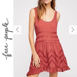 Free People - Voile & Lace Trapeze Slip Red Small